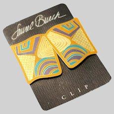 80s Laurel Burch Clip Earrings NOS on Original Card