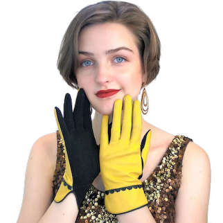 60s Two Tone Yellow Leather & Black Jersey Gloves 6.5 Small