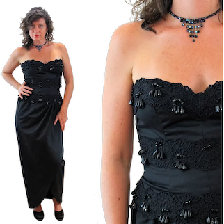 80s NOS Victor Costa Beaded Black Strapless Dress M Medium