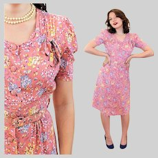 30s 40s Cold Rayon Pink Blue Floral Dress XS Extra Small