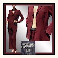 Vintage 90s Jean-Paul Gaultier Suit - Maroon Jacket & Pants - 8 M