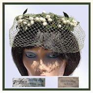 Vintage 50s Mr John Veiled Hat  -  Whimsy Hat with White Berries