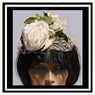 Vintage 60s Fascinator Hat - White Rose
