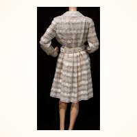 Vintage 1960s Silver & Gold Metallic Brocade  Dress with Beaded Belt - M