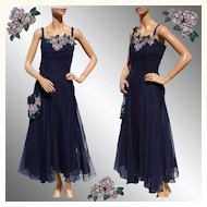 Vintage 1940s Blue Chiffon Dress - Hand Painted Flower -  L