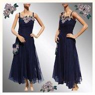 Vintage 1940s Blue Chiffon Dress - Hand Painted Flower -  L