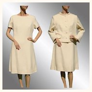 Vintage 1960s Off White Dress with Matching Jacket - L