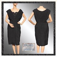 Vintage 1950s Black Silk Brocade Cocktail Dress - Doree Leventhal - L