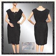 Vintage 1950s Black Silk Brocade Cocktail Dress - Doree Leventhal - L