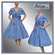 Vintage 1950s Blue Silk Party Dress - M
