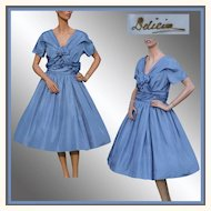Vintage 1950s Blue Silk Party Dress - M