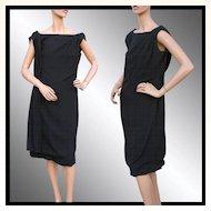 Vintage 1960s Black Crepe Dress with Drape Feature - M
