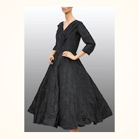 Vintage 1950s Black Silk Taffeta Dress - Ring Puckered Skirt - M