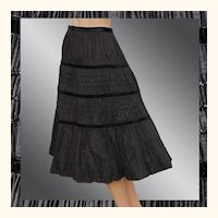 Vintage 1940s Black Taffeta Pleated Skirt - S