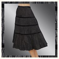 Vintage 1940s Black Taffeta Pleated Skirt - S