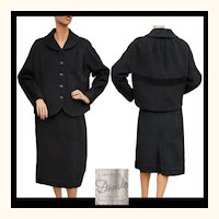 Vintage 1950s Black Wool Jacket & Skirt -  Suit - L