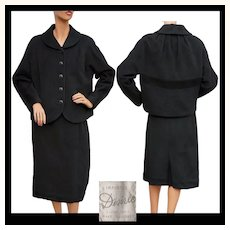 Vintage 1950s Black Wool Jacket & Skirt -  Suit - L
