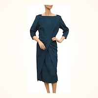 Vintage 1950s Teal Blue Wool Dress - Sophisticated Style - Koupy - M