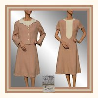 Vintage 1960s Auckie Sanft Wool Dress Wool with Matching Jacket -  L