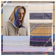 Vintage 1970s Christian Dior Silk Scarf - Stripes - 30 inches
