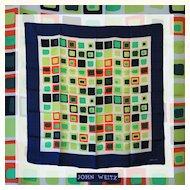 Vintage 1960s Color Block Silk Scarf - John Weitz