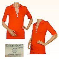 Vintage 70s Courreges Orange T Shirt with White Zipper -  S