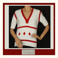 Vintage 1970s Courreges Red & White Cotton Sweater - Size S