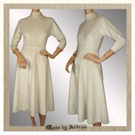 Vintage 50s White Plush Velour Dress // 1950s Ice Skating Seamstress Made Ladies Size Small