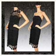 Vintage 50s Black Lace Strapless Dress // 1950s Guipure Lace Top & Skirt Ladies Size M Medium