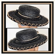 Vintage 30s Black Tilt Top Straw Hat // 1930s Doll or Toy Style Ladies Size S / M