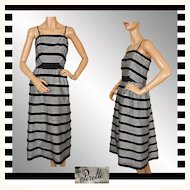 Vintage 50s Suzy Perette Black & White Striped Dress L
