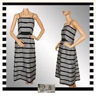 Vintage 50s Suzy Perette Black & White Striped Dress L