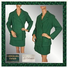 Vintage 1960s Green Connemara Tweed Ladies Suit Large