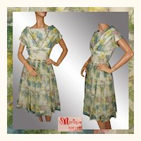 Vintage 1950s Organza Dress - Floral Pattern - M