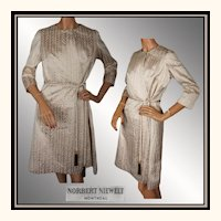 Vintage 1960s Gold Silk Lame Dress Couture Dress -  Norbert Niewelt  - Medium