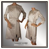 Vintage 60s Canadian Couture Gold Lame Dress // 1960s Wrap Around Silk Montreal Couturier Norbert Niewelt Ladies Size M / L