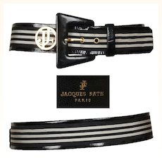 Vintage 90s Jacques Fath Black & White Leather Belt // Early 1990s Made in France Ladies Size M