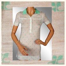 Vintage 1970s Courreges Green Logo Blouse Ladies Size S