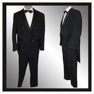 Vintage 50s Tuxedo Tails Suit - Size L