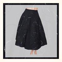 "Vintage 1950s Black Sequin Circle Skirt Wool Felt Size S 25"" Waist"