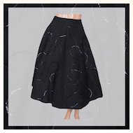"Vintage 50s Black Sequin Circle Skirt // 1950s Sequined Wool Felt Size S 25"" Waist"