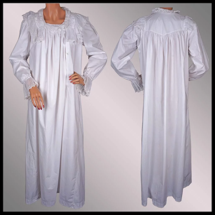 791fe7db636 Antique Victorian Nightgown - 19th c White Cotton - Eyelet and Lace ...