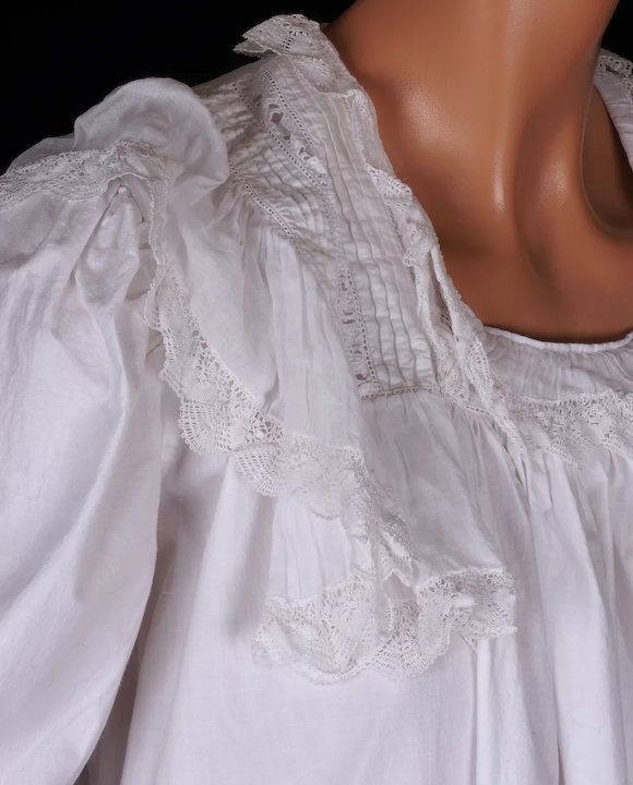 Antique Victorian Nightgown - 19th c White Cotton - Eyelet and Lace ...