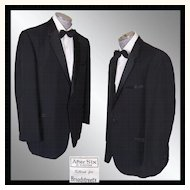 Vintage 60s After Six Rudofker Mens Tux Jacket // early 1960s Black Mohair Tuxedo Dinner Jacket Size L 46