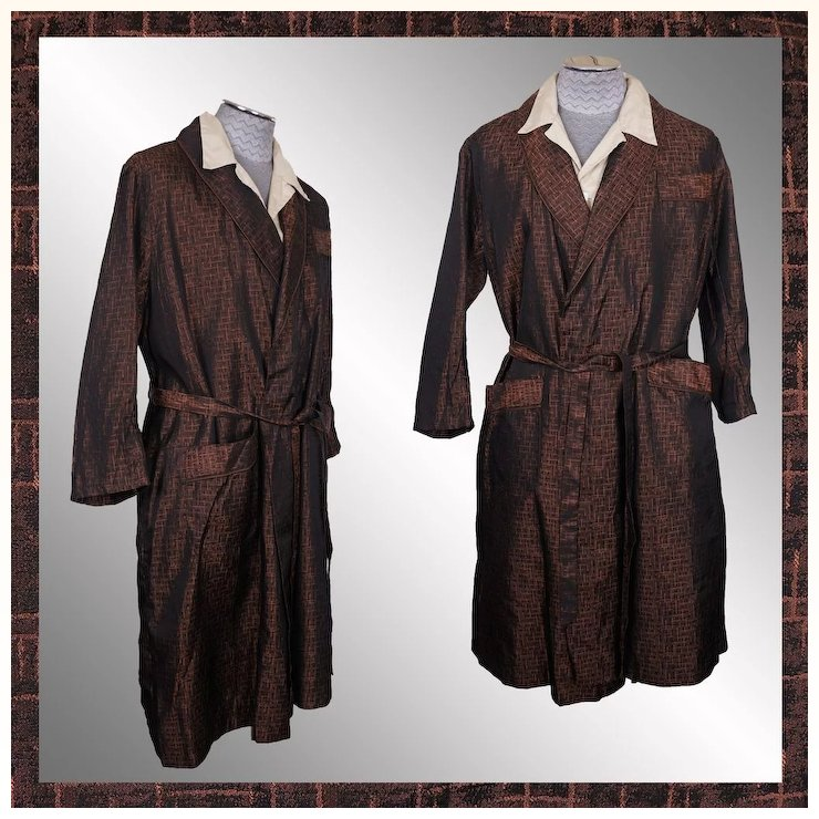 Vintage 1950s Dressing Gown Woven Brocade Lounging Robe Bronze Color ...