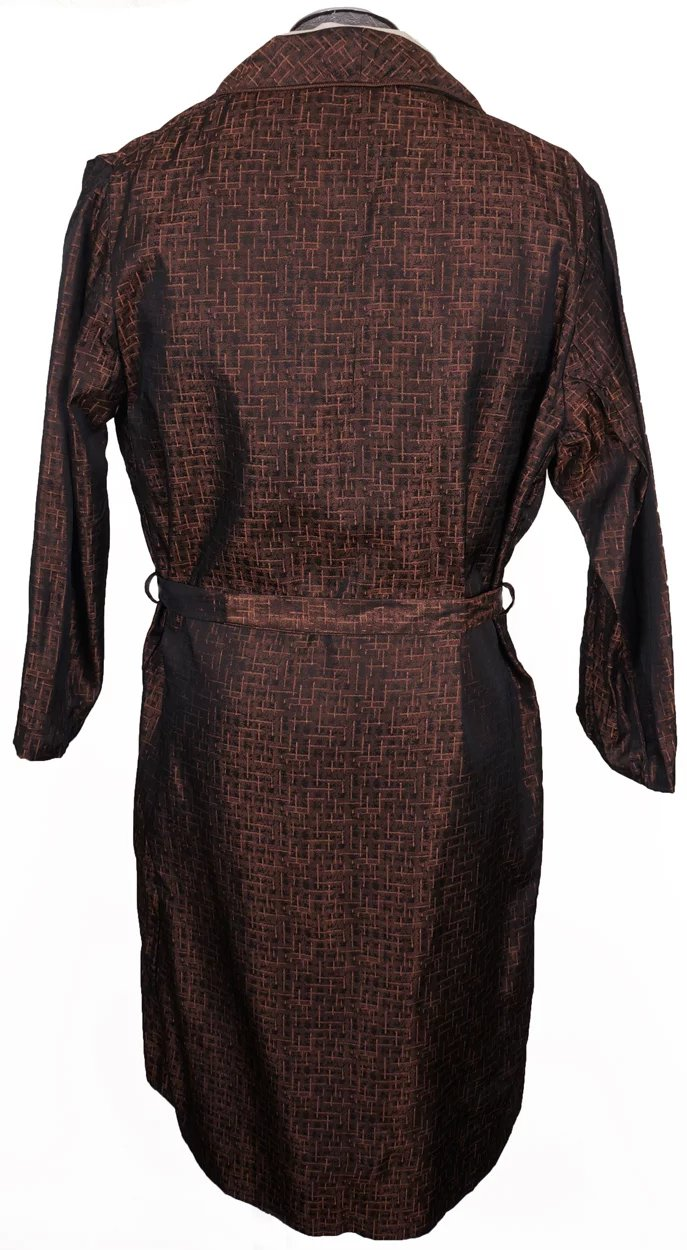 Vintage 1950s Dressing Gown Woven Brocade Lounging Robe