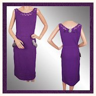 Vintage 1950s Purple Hand Knit Dress Bombshell