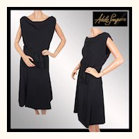 Vintage 1950s Black Crepe Dress Adele Simpson -  LBD - M / L