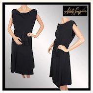 Vintage 1950s Black Crepe Dress Adele Simpson -  LBD - M / L