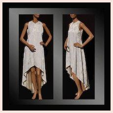 Vintage 1970s White Brocade Dress - Fishtail Hem - S